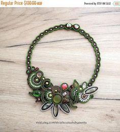 ON SALE Autumn soutache necklace with swarovski crystals