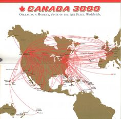 Canada 3000 route map 1999 Flight Map, Commercial Aircraft, Aviation Art, State Art, Vintage Travel, Travel Posters, Time Travel, Air Lines, Canada