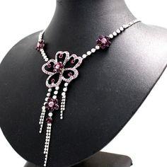Huge Purple Flower Crystal with Shiny Chrome Plating Tassel Necklace Set NS1687B