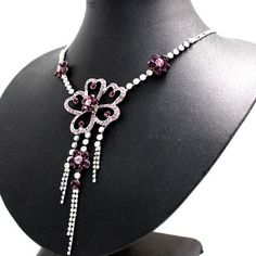 Huge Purple Flower Crystal with Shiny Chrome Plating Tassel Necklace Set NS1687B
