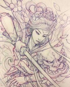 Guerrier geisha à venir. Japanese Tattoo Art, Japanese Tattoo Designs, Japanese Sleeve Tattoos, Japanese Art, Japanese Prints, Japanese Geisha, Japanese Kimono, Geisha Tattoos, Geisha Tattoo Design