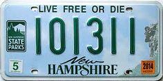 Resultado de imagen para new hampshire license plates