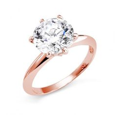 Simple rose gold solitaire ring