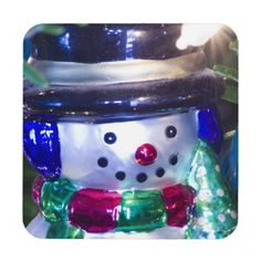 Snowman Ornament Coaster from Florals by Fred #zazzle #gift #Christmas