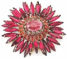 SCHREINER Amazing Red, Orange & Pink Rhinestone Ruffle Pin RARE!