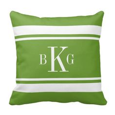 #Leaf #Green #Nautical #Stripes #Personalized #Monogram #Throw #Pillows #Cusions http://www.zazzle.com/leaf_green_nautical_stripes_custom_monogram_pillow-189885076090008197?rf=238213022379565456