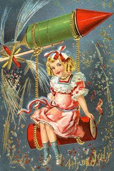 Postcard, Patriotic, Fourth July, Little girl, fireworks Vintage Holiday Postcards, Vintage Ephemera, Vintage Cards, Vintage Postcards, Vintage Images, Vintage Pictures, 4th Of July Party, Fourth Of July, Memorial Day Flag
