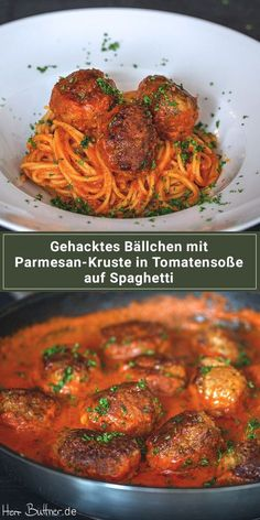 Recipe: Meatballs with parmesan crust on spaghetti in tomato sauce. Recipe: Meatballs with parmesan crust on spaghetti in tomato sauce. Meatball Recipes, Sausage Recipes, Steak Recipes, Pizza Recipes, Veggie Recipes, Healthy Recipes, Sauce Tomate, Parmesan Crusted, Parmesan Sauce