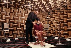 In an anechoic chamber, a teacher in Illinois studies how people detect sound, June 1967.