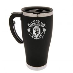 Aluminium Man United travel mug in black and featuring the club crest in white. Great for drinking on the go! FREE DELIVERY on all of our gifts
