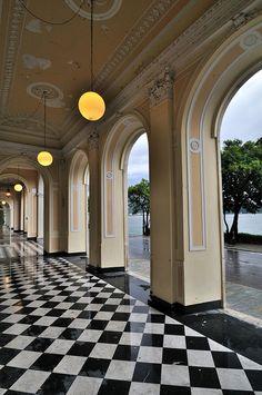 love the checkered marble floor!  ... Lake Como - Tremezzo - Grand Hotel by bautisterias