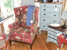 Red Floral Wing Chair