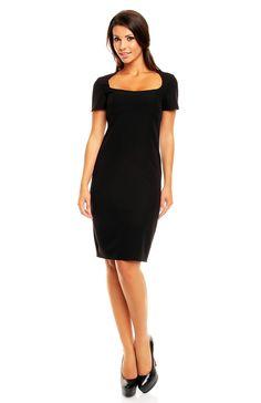 Charmante robe fourreau manches courtes décolleté carré Robe Fourreau  Noire, Robe Moulante, Petite Robe 03adf5e0f11e