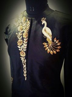 Golden Jardosi and Sequin work for tunics Couture Embroidery, Embroidery Motifs, Indian Embroidery, Hand Embroidery Designs, Embroidery Fashion, Embroidery Dress, Zardozi Embroidery, Gold Embroidery, Blouse Patterns