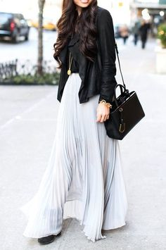 Maxi skirts + leather.
