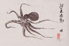 FLYING OCTOPUS- GYOTAKU / Calligraphy print - traditional Japanese fish art - (http://www.etsy.com/shop/FishingForGyotaku)