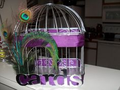 f40ad81c6cc Peacock and Purple Cardbox   wedding bird cage birdcage card box cardbox  eggplant peacock purple reception