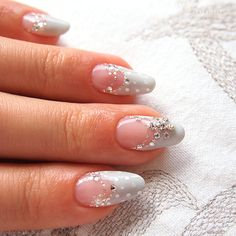 snow crystal nails #winter #bijoux #gray