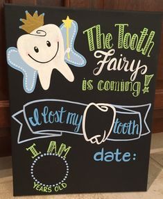 Custom hand painted Reusable Child milestone chalkboard, tooth fairy, month to month, baby's progres Date Countdown, Tooth Chart, Baby Monthly Milestones, Pregnancy Signs, Chalkboard Art, Tooth Fairy, Baby Month By Month, Teeth, Color Schemes