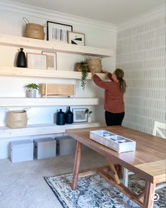 Check out this interior designer's office makeover complete with DIY floating shelves!