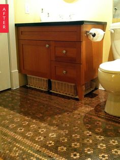 Before & After: Dad's Collection Turned Patterned Penny Tile Floor | Apartment Therapy Cheap Backsplash Tile, Hexagon Backsplash, Beadboard Backsplash, Subway Tile Backsplash, Penny Countertop, Rustic Backsplash, Copper Backsplash, Backsplash Ideas, Penny Decor