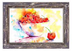 whimsical print | kitchen art | fruit print | watercolour | cherries | red print | wall art
