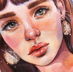 Amazing watercolor portrait of a girl Watercolor Portrait Painting, Watercolor Art Face, Portrait Art, Pencil Art Drawings, Art Drawings Sketches, Art Anime, Human Art, Art Graphique, Art Sketchbook