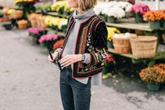 Jess Ann Kirby's fall style in a Velvet Embroidered Jacket and Autumn Cashmere Turtleneck Sweater