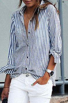 6603a06756a Turn Down Collar Single Breasted Striped Shirts Long Shirt Outfits