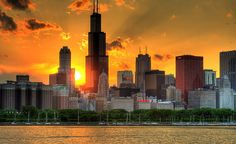 HDR Chicago Skyline Sunset by Jeffrey B.