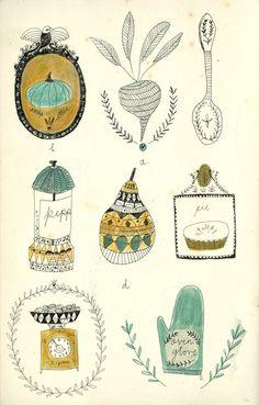 Kitchen objects. Kat Frank illustration.  http://kattfrank.tumblr.com