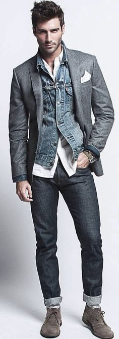 Suit Jacket over Denim Jacket Vest, Men's Spring Summer Fashion.