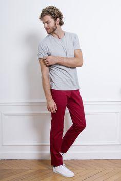 LePantalon - Pantalon chino bordeaux homme en vente sur LePantalon.