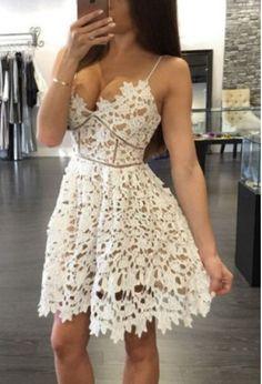 Lace Unique Homecoming Dress,Graduation Dress,Prom Dress for Teens PM17