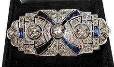Art Deco platinum, diamond & sapphire brooch