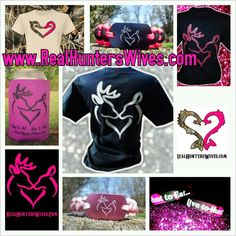 Real Hunter's Wives buck and doe deer heart logo items!!! www.realhunterswives.com