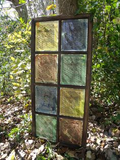 Window of Opportunity: Old Salvaged Windows Get New Life As Unique Decor Antique Bee on Stained Glass: an antique door … Vintage Windows, Old Windows, Antique Windows, Windows Decor, Window Art, Window Frames, Window Ideas, Painted Window Panes, Window Shutters
