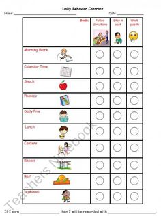 Daily Behavior Contract product from KookyKindergarten on TeachersNotebook.com