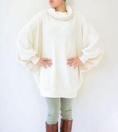 80's Vintage Nubby Cream Oversize Cowl Neck Jumper Sweater