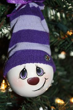 """Hand Painted """"Pretty In Purple"""" Light Bulb Ornament"""