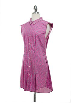 Women's Pink Shirt Dress Refashioned from Men's Shirt.