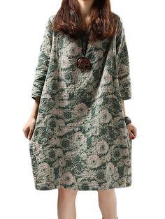 Vintage Floral Printed 3/4 Sleeve Straight O-Neck Cotton Linen Dress