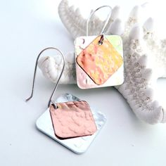 Mixed Metal Earring Square Shape Textured by TraceDesigns on Etsy