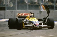 Adelaide, October Nigel Mansell's championship hopes ended with a spectacular tyre failure on the main straight at the season-ending Australian Grand Prix. F1 Racing, Racing Team, F1 Motor, Motor Sport, Johnny Herbert, Williams F1, Nigel Mansell, Australian Grand Prix, Car And Driver