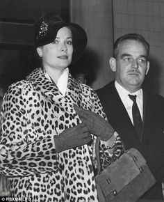 Princess Grace Kelly of Monaco with Prince Rainier at Gatwick Airport in 1959.