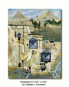 """Pyramids II map art quilt by Valerie Goodwin - """"analytique"""" style -- looking at a place from above and from the ground at the same time."""