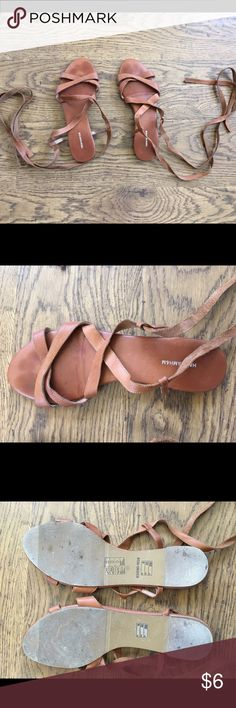 Leather strap sandals Stylish leather sandals. Strap & wrap around leg. Very lightly used. I think I wore them twice. See pictures for ref. H&M Shoes Sandals