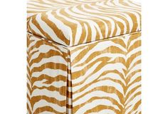 Anne Skirted Storage Ottoman, Ochre