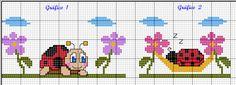 24 σχέδια με πασχαλίτσες για κέντημα σταυροβελονιά / Mονογράμματα με πασχαλίτσες   24 ladybug cross stitch patterns /   L adybug cross s...
