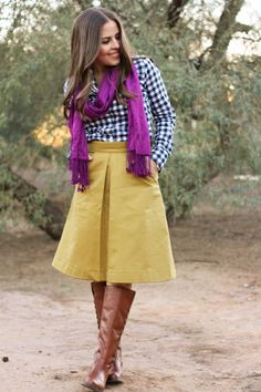 gingham, mustard, skirt with pockets? In love.   la vie petite